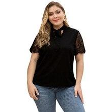 New womens shirt black Bow V-neck lace stitching short-sleeved chiffon large size