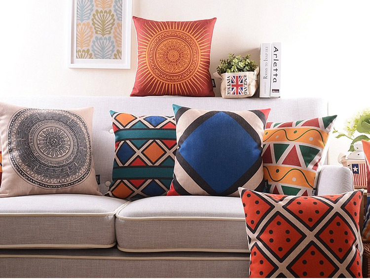 Bohemian Style Geometric Cotton Linen Cushion Cover Retro Pillow Case Abstract Throw Sofa Home Decor 18 Free Shipping