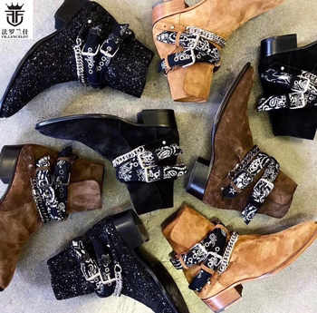 2019 FR.LANCELOT Newest Red Fashion Suede Brand Design Men Boots Ankles Botas Chains Buckles Low Heel Shoes Mens Sapatos Mujer - DISCOUNT ITEM  38% OFF All Category