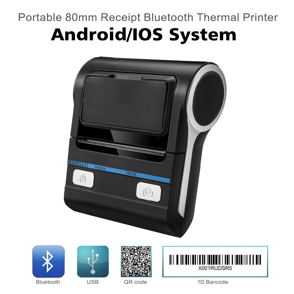 Meihengtong Thermal Printer POS Bluetooth Android 80mm Thermal Receipt Printer Portable Wireless Printing Machine MHT-P8001