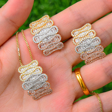 SISCATHY Luxury Cubic Zirconia Long Chain Pendant Necklace Stud Earrings For Women Jewelry Sets Bridal Wedding Party Jewelry недорого
