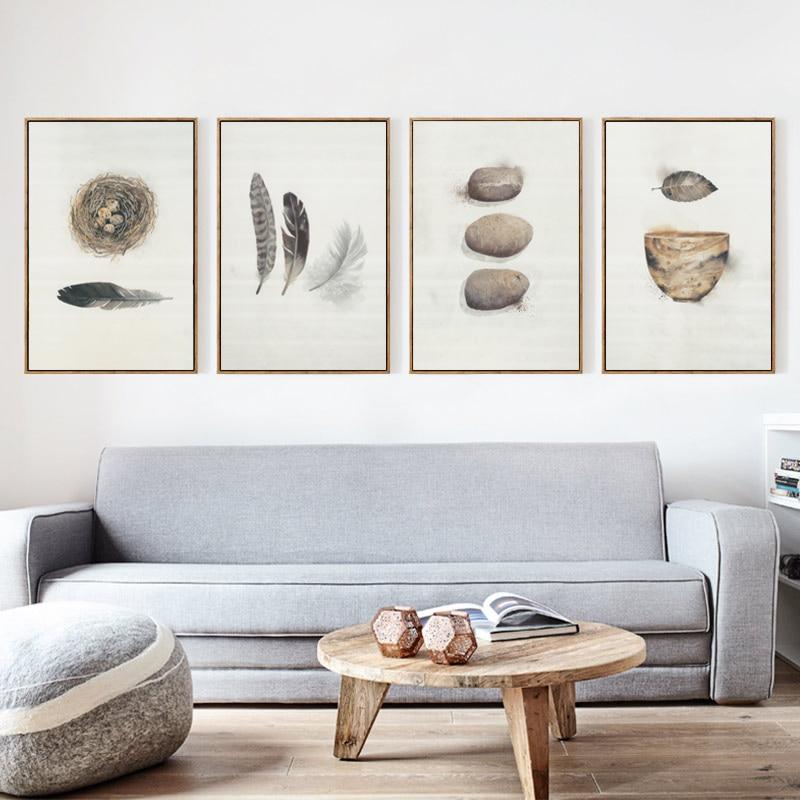 Elegante Poesie Abstrakte Feder Vogelnest Schüssel A4 Leinwand - Wohnkultur