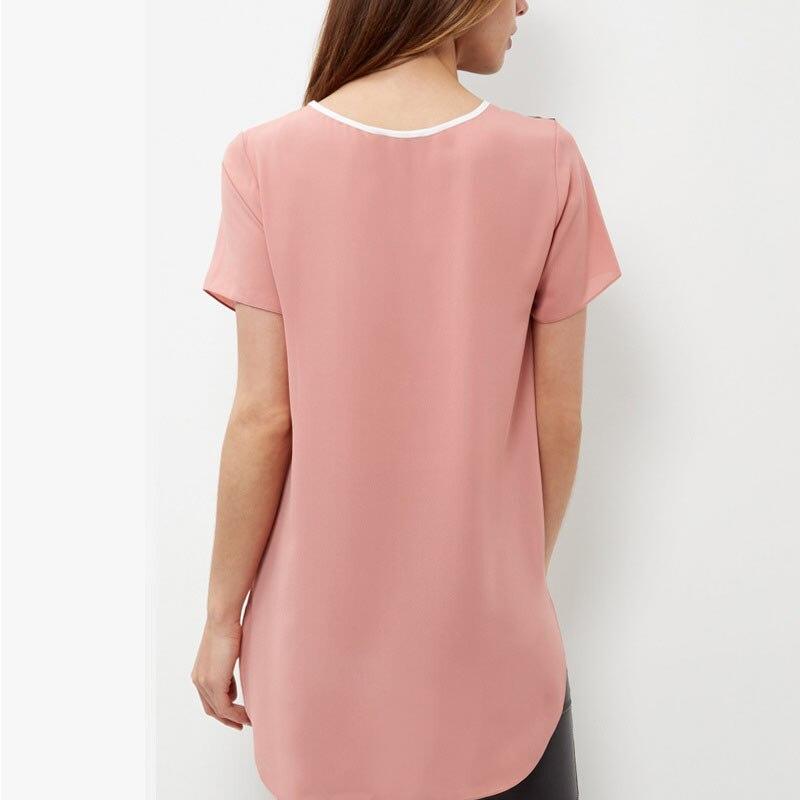 Women Loose Long Chiffon   Blouse   Casual Patchwork Summer Geometric   Blouses     Shirt   Plus Size 6XL FDC99