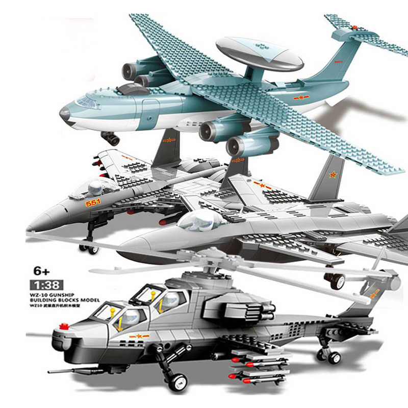 The Air Force Vehicle Compatible Legoing Military Swat Aircraft Helicopter Fighter Army War Plane Model Building Blocks Toys