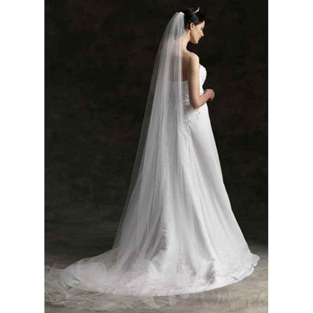 3 M Elegan Pernikahan Kerudung Pengantin 1 Lapisan Bridal Wedding Veil Aksesoris