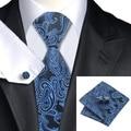 SN-981 Blue Black Paisley Tie Hanky Cufflinks Sets Men's 100% Silk Ties for men Formal Wedding Party Groom