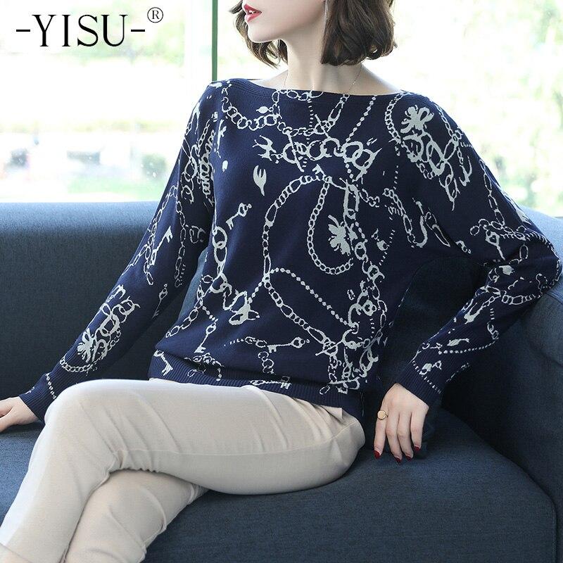 YISU Winter Sweater Printed Women Pullovers Loose Sweater Female Long Sleeve Knitwear Fashion O Neck Top Autumn Soft Sweater