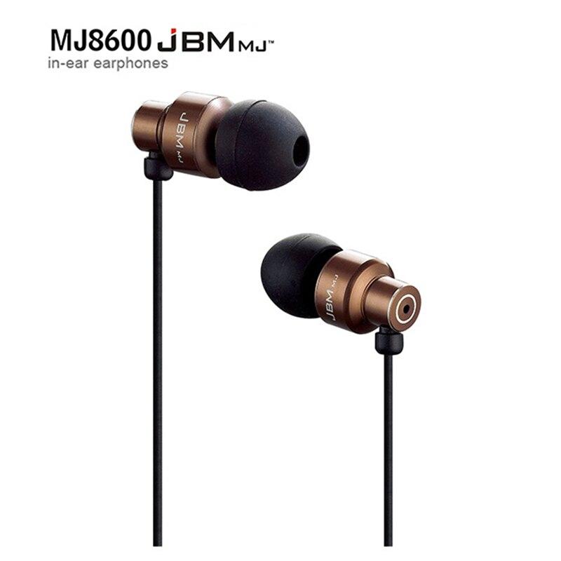 Original JBM MJ-8600 Hight Quality Metal In Ear Headphones In-ear Earphone HD HiFi Headset Good Bass For IPhone XIAOMI Samsung