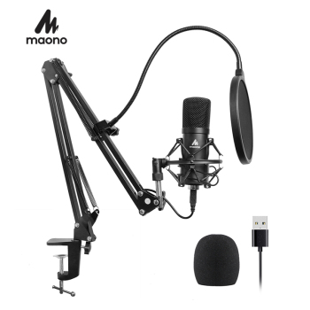 MAONO Professional Studio Microphone Podcast USB Microphone Kit Karaoke Condenser Microphone for Computer YouTube Recording gevo mk f500tl microphone for phone professional 3 5mm wired usb condenser studio microphone for computer karaoke pc mic stand