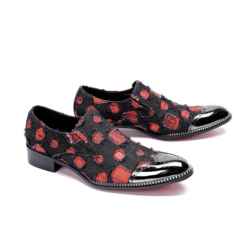 Kleid Auf Britischen Vestidos Kappe Schuhe Hochzeit rot Wohnungen Leinwand Business Männer Größe Rot Punkte Stil Slip 46 Formale Runde Große Schwarzes wtfUAXfq