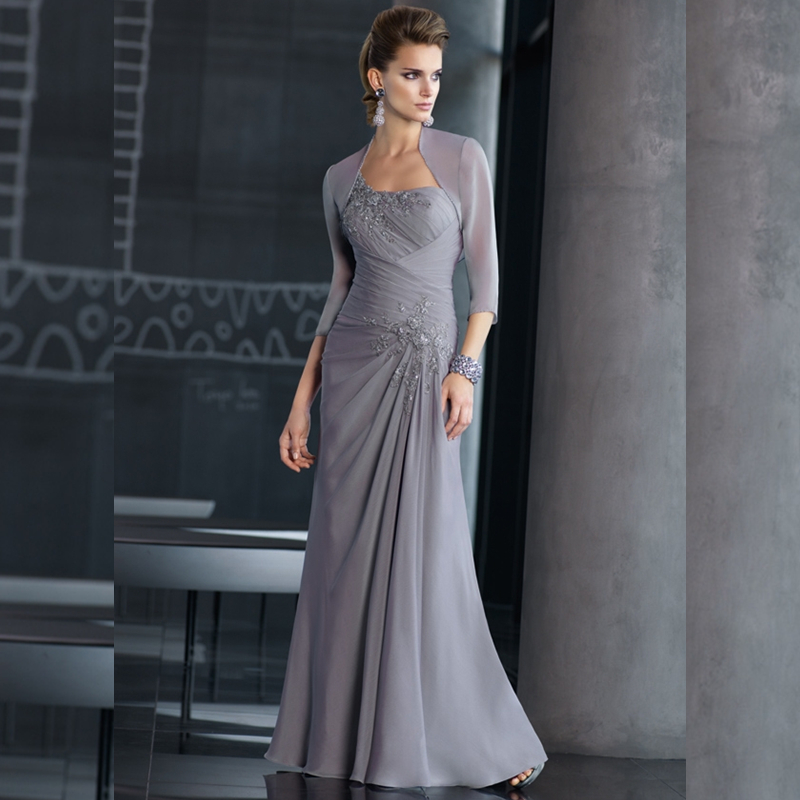 A Line Chiffon Mother Of The Bride Dresses With Three