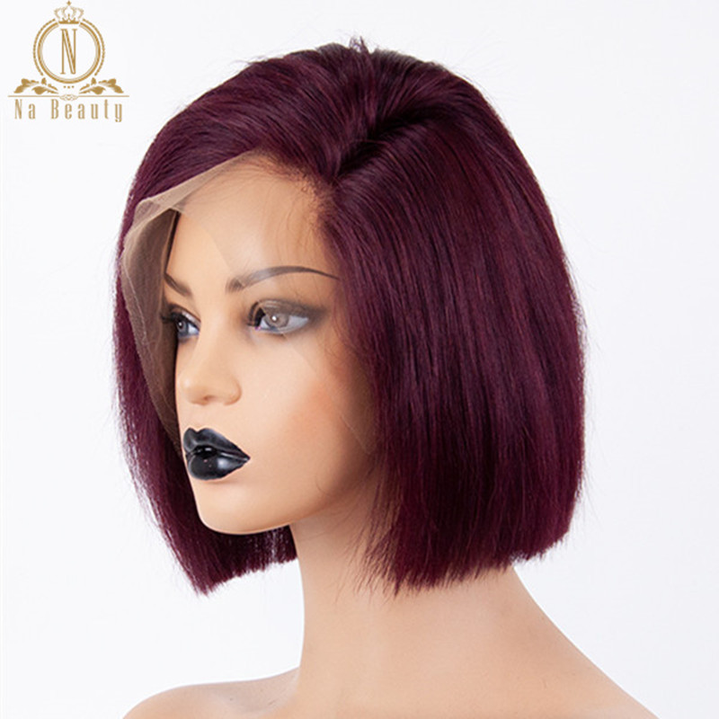 Glueless 13x6 Lace Front Human Hair Wigs Straight Burgund 99J Red Black Short Bob Wig For Women Bob Wig Remy 150% Brazilian