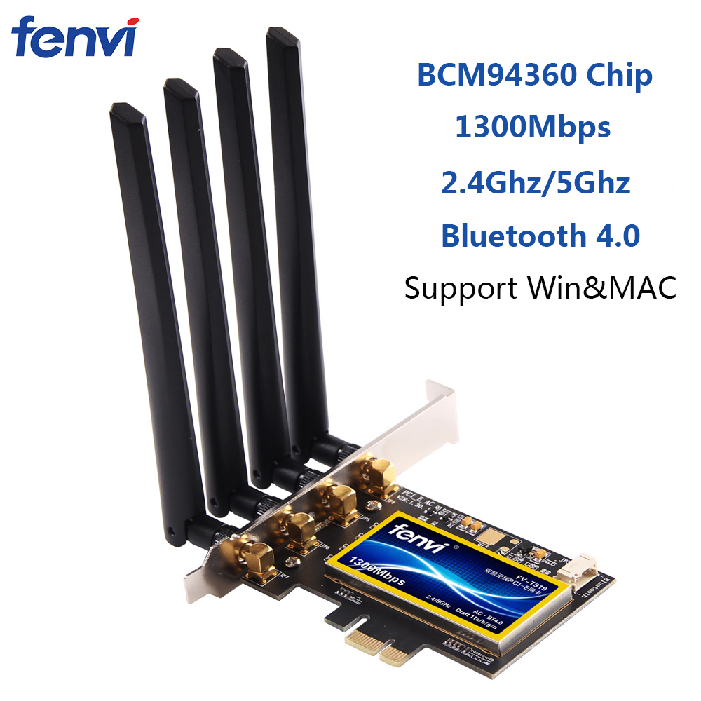 Fenvi double bande 1300 Mbps PCI Express adaptateur sans fil de bureau Broadcom BCM94360 carte Wifi 802.11ac pour Hackintosh/Mac OS/Windows
