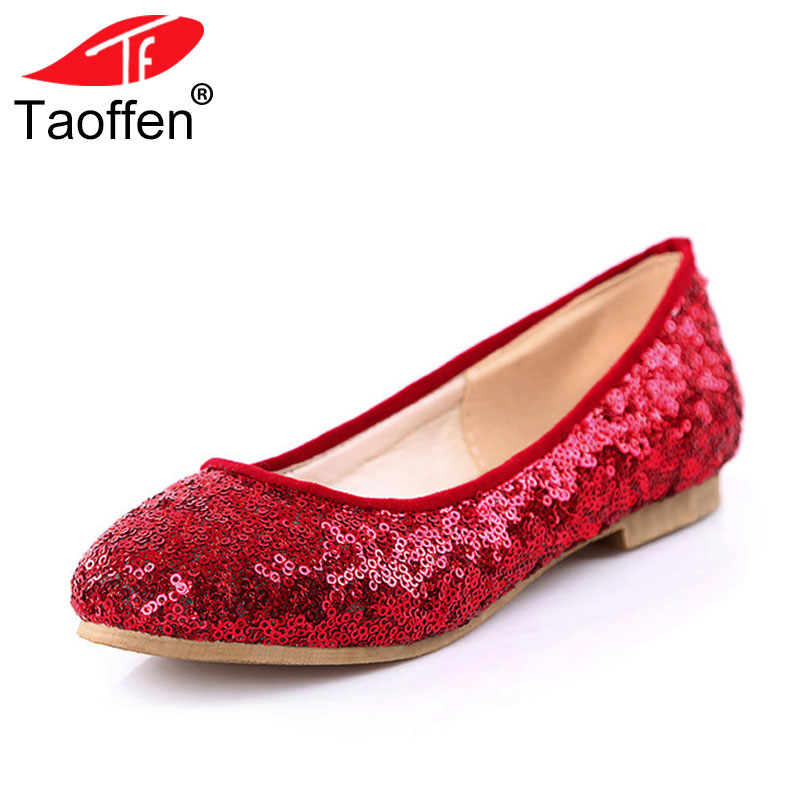 TAOFFEN Size 34-43 Women Bling Flats Shoes Glitters Round Toe Flat Shoes Woman Ballet Party Office Lady Daily Concise Footwear rizabina concise women sneakers lady white shoes female butterfly cross strap flats shoes embroidery women footwear size 36 40