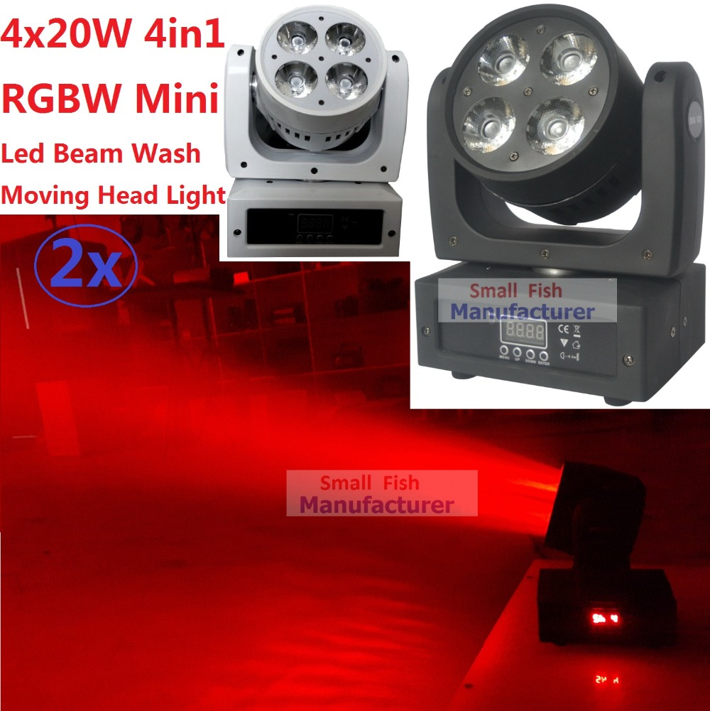 2xLot Super Beam 4x20W 4in1 RGBW CREE LEDs LED Beam Wash Moving Head Light Disco DJ Bar Night Club DMX Controller Stage Lighting