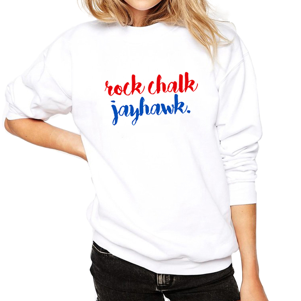 High Quality Hip Hop Women Sweatshirts Rock Chalk Jayhawk Hoodies Designer Print Letter Womans Pullover Tumblr Printed Clothing