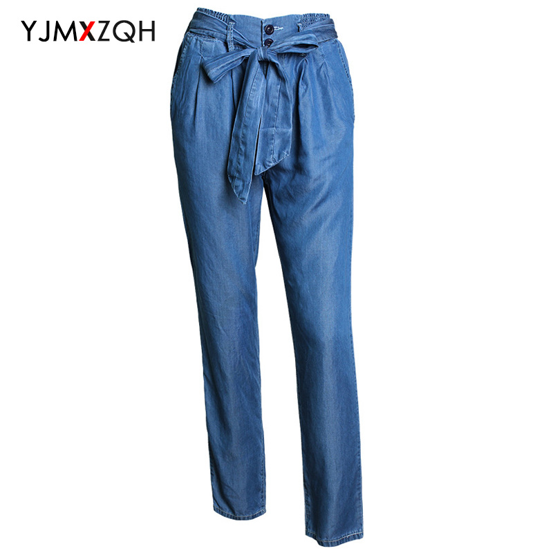 ФОТО Loose Plus S-XL Size Straight Jeans Bow Sashes High Waist Women Blue Button mom Jeans Fashion Casual Denim Pants Woman 2017 Hot