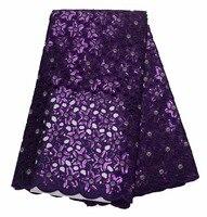 Новые и высокое качество двойной органзы кружева с блестками Фиолетовый Нигерии кружевной ткани для вечернее платье 5yard/лот P468 2