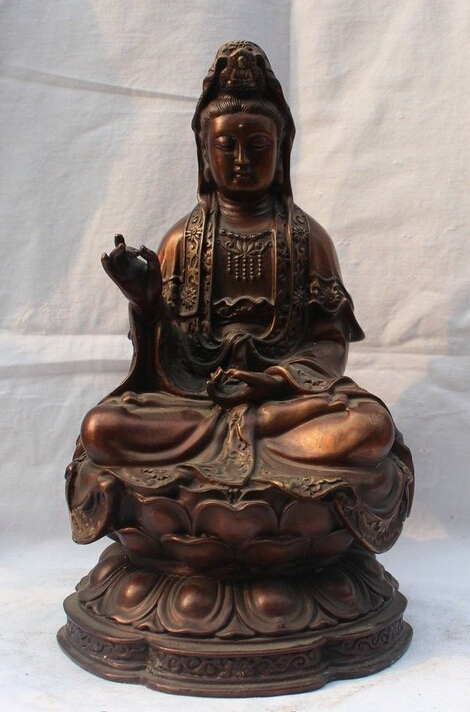 "10"" Chinese Buddhism Bronze Seat Lotus Flower Kwan  Yin Guan Yin Goddess Statue statues goddess statue 1:1 statue bronze - title="