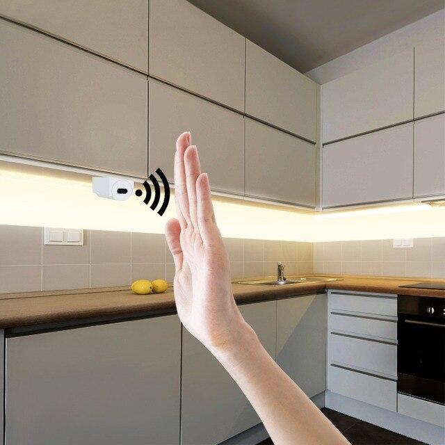Tiras LED con Sensor de barrido manual, 110V, 220V a 12V, impermeables, 1M, 2M, 3M, 4M, 5M, Sensor de movimiento, luces nocturnas, lámpara de cocina para armario