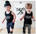 ST223 2016 new girl cotton clothes with sleeveless clothes shirt + long pants 2 pcs. bebe children's clothing set