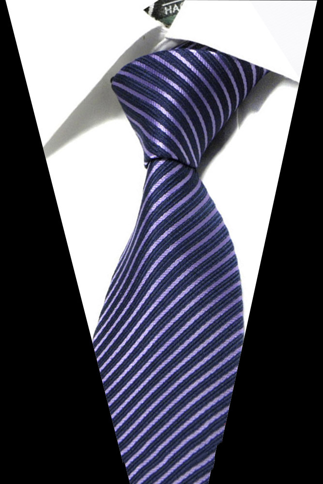High-grade New Fashion Blue Purple Striped  Tie Men 8 Cm Width Group Necktie Fit Wedding Party Necktie For Men Corbatas