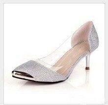 Größe große 34-42 neue 2016 Modeplattform High Heels Metallkopf spitzschuh Sexy Frauen Pumpt Hochzeitsschuhe für Frauen