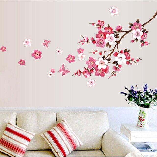 Roze Sakura Bloemen Muurstickers Woonkamer Decoratie Plant ...