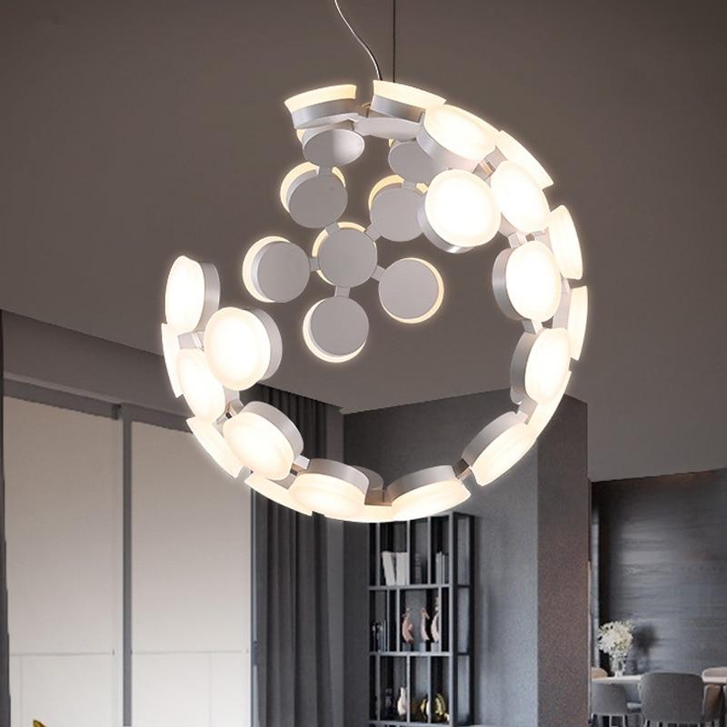 Nordic Art Pendant Light 36 Heads Acrylic Shade black white Led Pendant Lamp Loft Lustre Lamparas 10 Unique Lustre Pendant Hht5