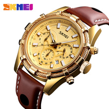 SKMEI Relogio Masculino 9189 Top Brand Luxury Leather Strap Men Quartz Watch Luminous Sport Watches Waterproof Male Wristwatches skmei sport quartz watches men causal fashion watch leather strap waterproof date wristwatches male relogio masculino wristwatch