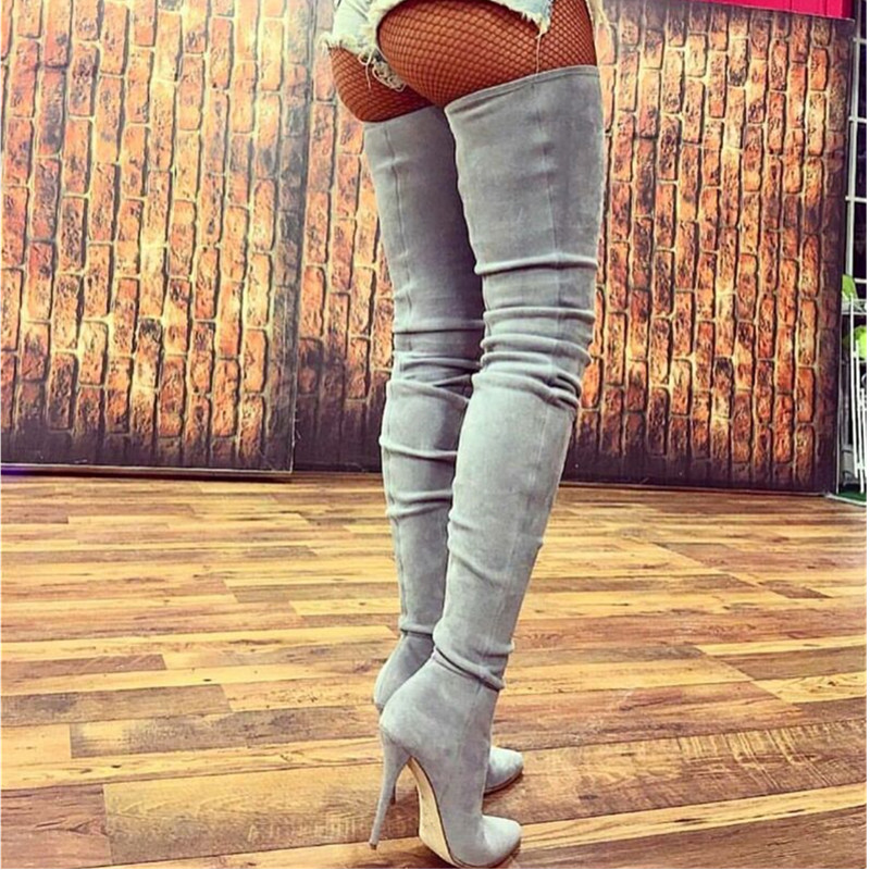 Grey Suede Thigh High Boots Stiletto High Heels 2017 New Slim Stretch Fall Boots Over The Knee Boots Pointed Toe Shoes Woman