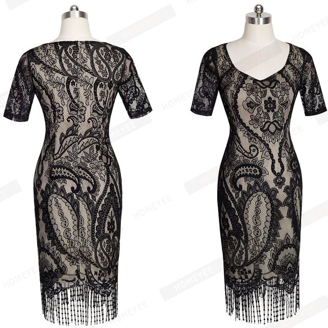 Flower Lace Pattern Short Sleeve Sheath Bodycon Dress