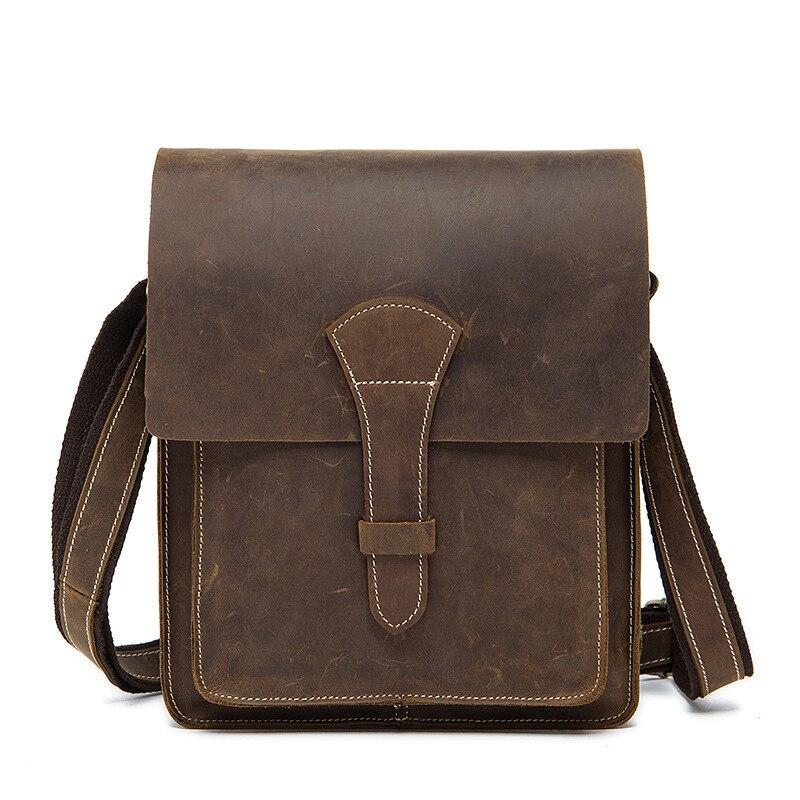 Fil fou cheval en cuir véritable hommes sacs mode rétro sac à main épaule Vintage vache sac hommes Messenger sacs mallette d'affaires