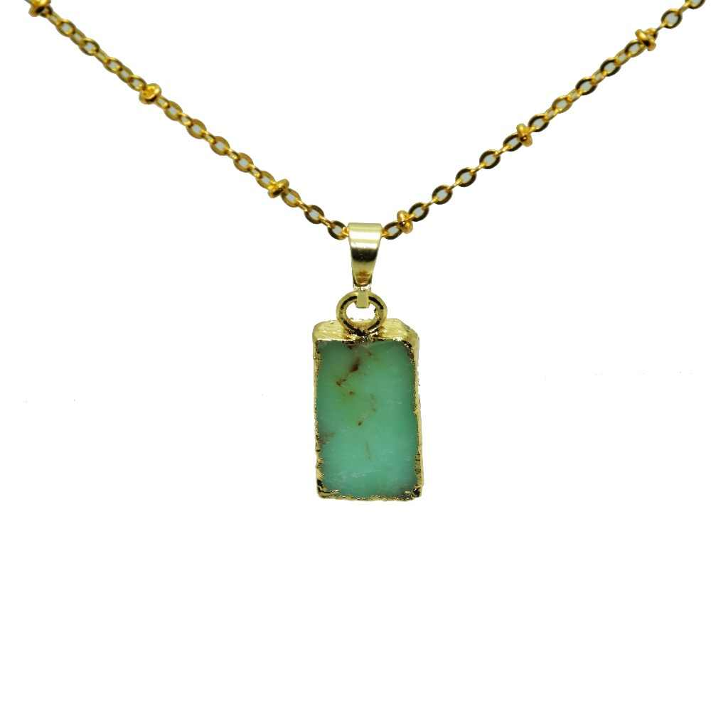 Fluorescent Green Rectangular natural gem Australian stone charm pendant necklace raw Chrysoprase healing point pendant necklace