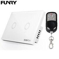 FUNRY US AU Standard 2 Gang 1 Way Crystal Glass Panel Remote Switch Remote Wireless Light