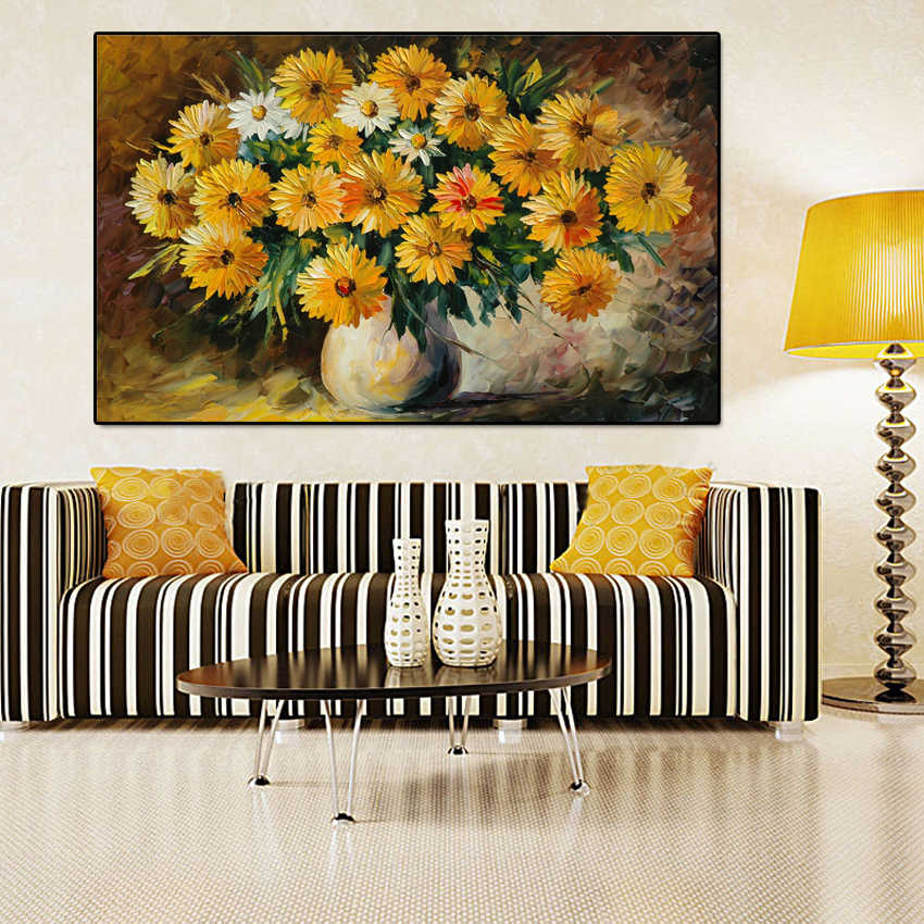 modern oil paintings sunflowers pictures wall art canvas spray painting for living room home decoration posters and prints PP231