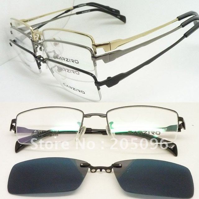 wholesale c5784 optical titanium eyeglasses frame with magnetic easy clip on uv400 polarized removeable sunglasses lens - Easy Clip Frames