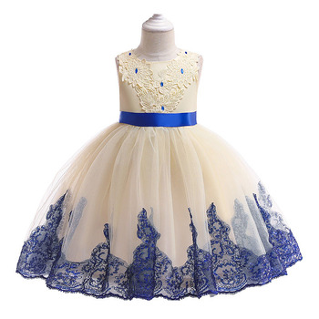 6270 Diamonds Embroidery Princess Costume Baby Girls Dresses Summer Wedding Party Kid Dress For Girl Wholesale baby girl clothes