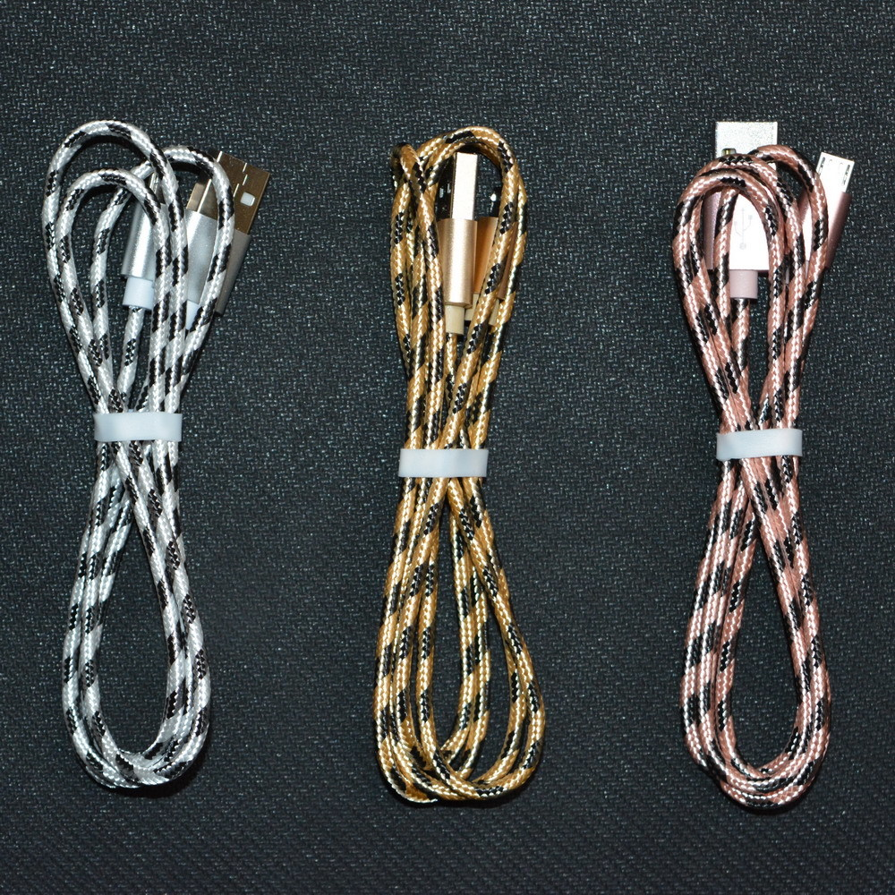 1M tiger lattice weaving USB cable data line copper wire 2A fast ...