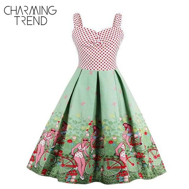 Charmingtrend Floral Vintage Kleider Stil 50 s 60 s Nette Kleid 2017 ...