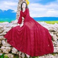 Hot Sale 2018 Spring Women Beach Red Dress Elegant Long Sleeve V Neck Lace Floral Crochet