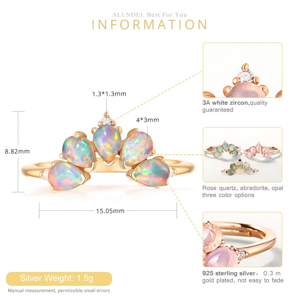 ALLNOEL 2019 Real 925 Sterling Silver Ring For Women 100% Natural Rose Quartz Blue Topaz Labradorite Gemstone Stack Fine Jewelry (5)