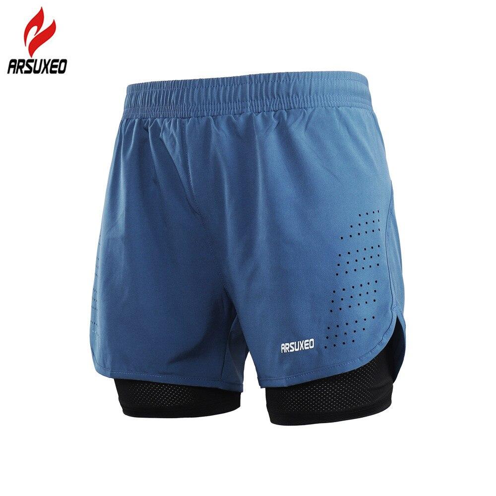 ARSUXEO 2-in-1 Mens Running Shorts with Waist Rope Quick Dry Zipper Pocket Marathon Spor ...