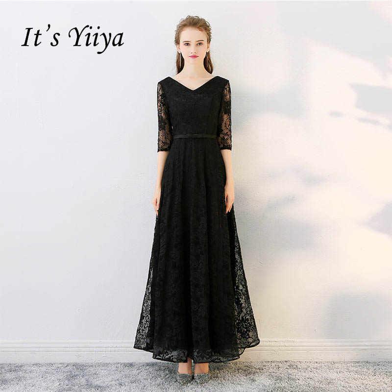 a0d7d2700d It's YiiYa Black Popular Three Quarter Sleeve V-Neck Evening Gown Floor  Length Lace Up