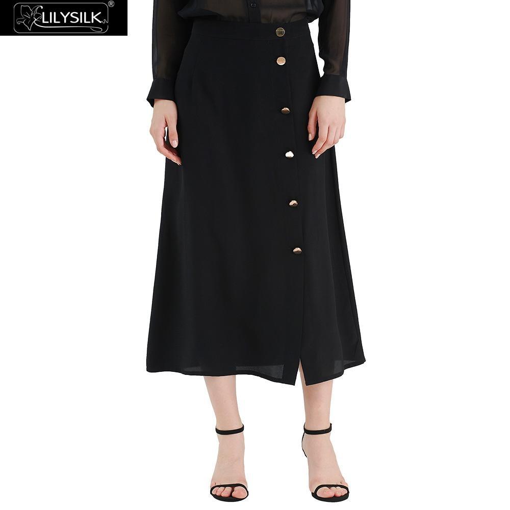 LILYSILK Skirt Silk Classic Button Closed Ladies NEWS Free Shipping
