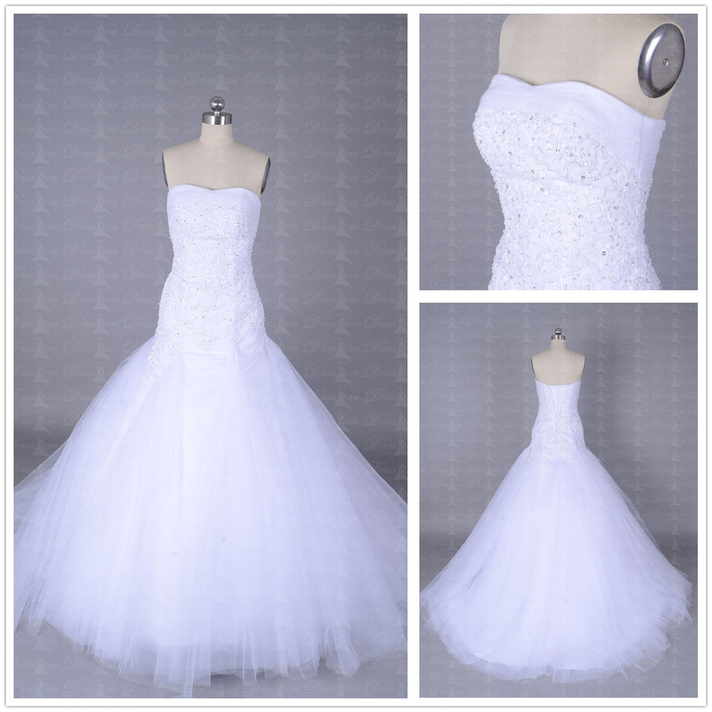 Top quality custom made sexy strapless princess beading for Princess mermaid wedding dresses