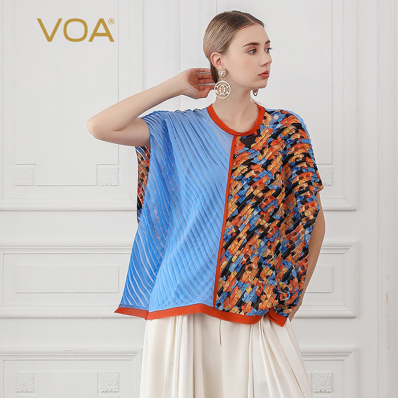 VOA Silk Georgette Oversized T Shirt Women 3D Print Ladies Tops Loose Bat Sleeve Casual Tee Summer Boho Large Size O Neck B620
