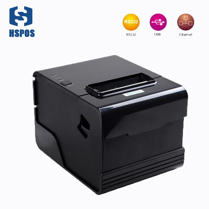 80mm thermal printer with auto cutter qr code usb serial lan port pos receipt high quality printing machine support Win10
