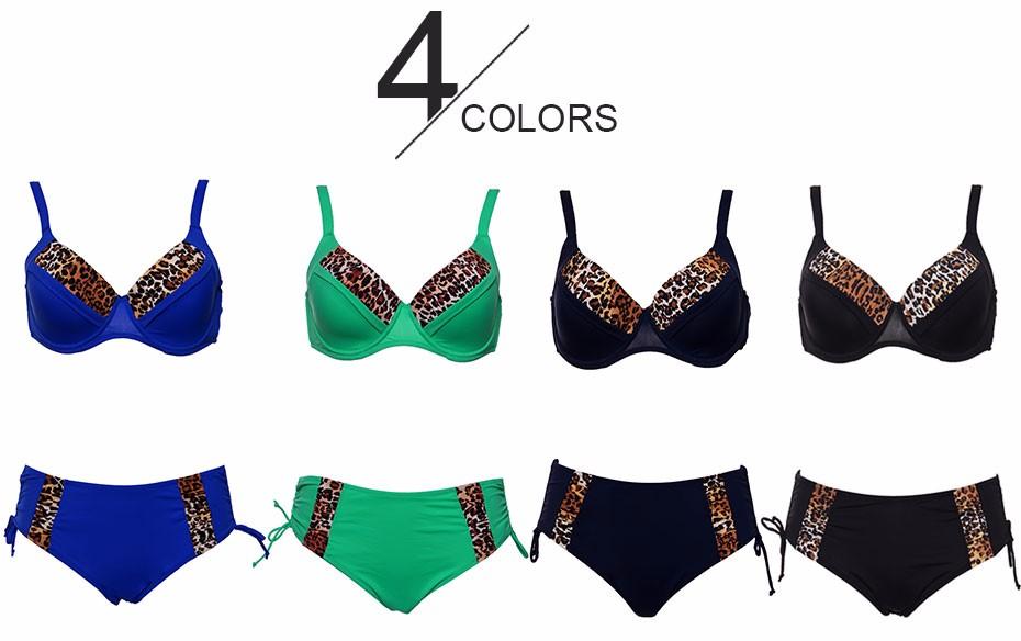 Andzhelika Bikinis Women Swimsuit Newest Sexy Leopard Patchwork Bikinis Set Plus Size Swimwear Maillot de bain Femme Biquini 2