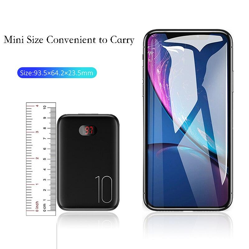 Мощность банка для xiaomi mi iPhone USAMS Мощность банк mi ni 10000 мАч светодио дный Дисплей Dual USB Мощность Bank внешняя Батарея Быстрая зарядка